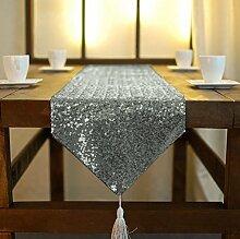 ShinyBeauty Rotguss Tassel Pailletten Tischläufer 33x180cm schimmern Pailletten Stoff Quaste Pailletten Tischläufer besser passenden Tisch/Sofa/Bett oder Wedding Party Anlässe Shiney Stoff Dekoration