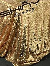 ShinyBeauty ShinyBeauty Pailletten-Stoff Gold 4 Meters für Pailletten Hochzeit Kleid/Pailletten Tischdecke/Hintergrund/Vorhang/Tischläufer DIY Nähen (Gold)