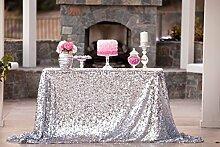 ShinyBeauty Silber Pailletten Tischdecken für Hochzeit / Party - 150cm x 260cm