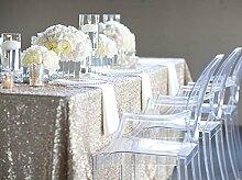ShinyBeauty Silber Sequin Tischdecken für Hochzeit / Party-Every Size For Your Better Reference-150x300cm Runde