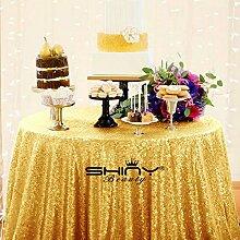 Shinybeauty Tischdecke, Gold Pailletten, Leinen, gold, 72inch Round