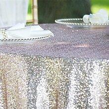 ShinyBeauty Tischdecke mit glitzernden Pailletten, für Hochzeiten und Veranstaltungen, Silberfarben, in verschiedenen Größen erhältlich, Leinen, silber, 96in round