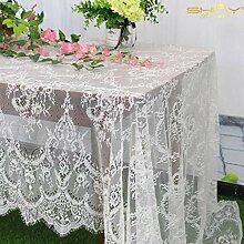 ShinyBeauty Tischdecke mit Spitze, Weiß, 152,4 x