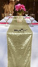 ShinyBeauty Tischläufer Elegant matt goldfarben Pailletten 30,5x 228,6cm, Matte Gold, 12x90Inch