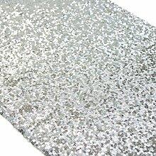 ShinyBeauty Tischläufer mit glitzernden Pailletten für Hochzeit/besondere Anlässe, 30x180cm, verschiedene Farben erhältlich, silberfarben, 30x180cm