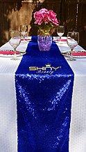 ShinyBeauty Tischläufer mit Pailletten, 13 cmx 274cm königsblau