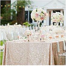 ShinyBeauty Tischtuch mit Pailletten, 120x 180cm, als Dekoration für Hochzeiten, Leinen, champagnerfarben, 225x390cm Rectangle