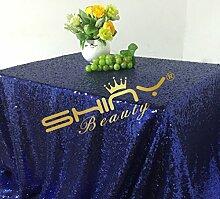 ShinyBeauty Tischtuch mit Pailletten, 125x 180cm, als Dekoration für Hochzeiten, Leinen, Dark Blue Color, 125x180cm Sequin Tablecloth