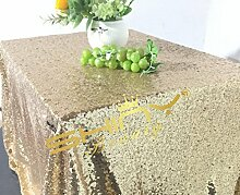 ShinyBeauty Tischtuch mit Pailletten, 125x 180cm, als Dekoration für Hochzeiten, Leinen, Light Gold Color, 125x180cm Sequin Tablecloth