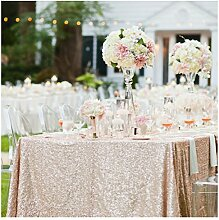 ShinyBeauty Tischtuch mit Pailletten, 225cmx330cm Champagner Pailletten-Tischdecke, als Dekoration Hochzeiten, Leinen, Champagner farben, 225x330cm Rectangle