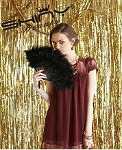 Shinybeauty Vorhang mit Fadenenden, 90cm x 305cm. Metallic-glänzendes Silber Vorhang/Hintergrund für Feste mit Foto-Hintergrund, Party-/Geburtstags-/Hochzeits-Dekoration, gold, 3x10f
