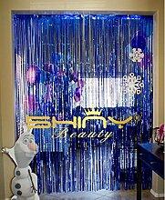 Shinybeauty Vorhang mit Fadenenden, 90cm x 305cm. Metallic-glänzendes Silber Vorhang/Hintergrund für Feste mit Foto-Hintergrund, Party-/Geburtstags-/Hochzeits-Dekoration, blau, 3x10f