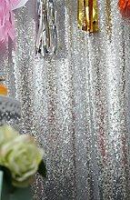 ShinyBeauty Vorhang mit silberfarbenen Pailletten, 60x213cm, Leinen, silberfarben, 4FTx12FT