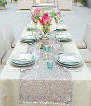 shinybeauty Zehn Silber Pailletten 30,5x 274,3cm Sparkly Silber Pailletten Tischläufer Glitz Pailletten-Tisch Leinen glitzernden Großhandel von Event Bettwäsche Sparkle