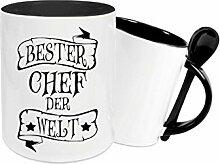 Shirtinstyle Keramiktasse mit Löffel, Bester Chef