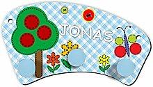 ShirtInStyle Kinder Wandgarderobe mit Wunsch Namen Ballon Baum Natur