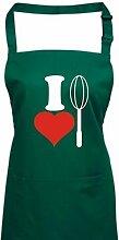 Shirtinstyle Kochschürze Latzschürze I Love Schneebesen Kochen Backen, Farbe Bottlegreen