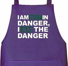Shirtstreet24, I AM NOT IN DANGER, Grillen Barbecue Grill Schürze Kochschürze Latzschürze, Größe: onesize,Lila