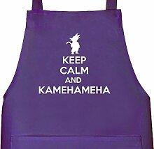 Shirtstreet24, Keep Calm And Kamehameha, Grillen Barbecue Grill Schürze Kochschürze Latzschürze, Größe: onesize,Lila