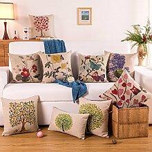 SHIYII Wohnungseinrichtung_Fabric Hersteller verkaufen Spezielle Dicken Pfund Baumwolle Gedruckt Kissenbezüge Sofakissen Großhandel Heimtextilien, Xuanhuachunshu Pflaume, 43 * 43 (Separate Kopfkissenbezug)