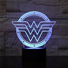 shiyueNB 3D Lampe Wonder Woman Logo Touch Sensor 7