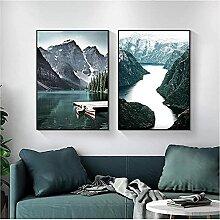 SHKHJBH Bilddrucke Skandinavische Landschaft
