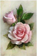 SHKHJBH HD-Druck Nordic Vintage Rose Blumenmalerei