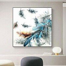 SHKHJBH Leinwanddruck Blaue Federn Abstrakte Kunst
