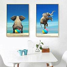 SHKHJBH Leinwandplakat Leinwandelefant Abstrakte