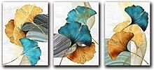 SHKHJBH Modernes Plakat Blau Grün Gelbgold