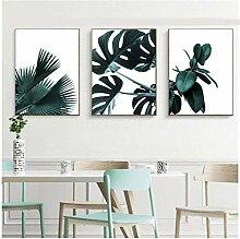 SHKHJBH Wandkunstdruck Aquarell Pflanzenblätter
