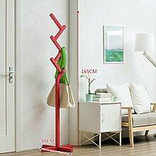 Shoe rack Massivholz-Kleiderständer Einfache moderne Kleiderbügel Boden einfache Kleidung Regal Schlafzimmer Finishing Rack Lagerregal (Farbe : Rot)