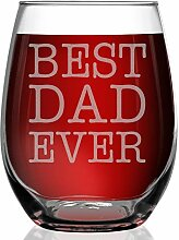 shop4ever Best Dad Ever Laser Gravur Weinglas