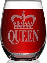 shop4ever Krone Queen Laser Gravur Weinglas
