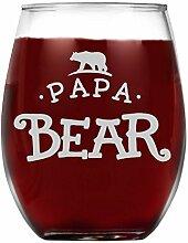 shop4ever Papa Bär Laser Gravur Weinglas