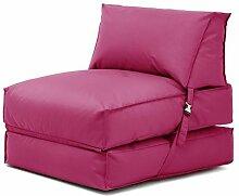 Shopisfy ausklappbare Einzeln vorgefüllt Sitzsack Gästebett Futon Matratze Zbed Liege, Gestaltet mit Verschluss Erhältlich in 11 Modernen Farben - Rosa