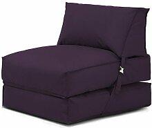 Shopisfy ausklappbare Einzeln vorgefüllt Sitzsack Gästebett Futon Matratze Zbed Liege, Gestaltet mit Verschluss Erhältlich in 11 Modernen Farben - Lila