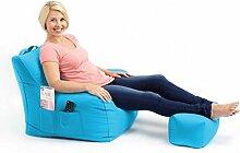 Shopisfy groß Gaming Sitzsack Lounge Gamer Sitzsack Sessel mit passender Schemel in hohem Qualität Wasserfest Material, Erhältlich in 10 Farben - Türkis