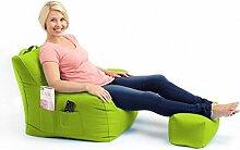 Shopisfy groß Gaming Sitzsack Lounge Gamer Sitzsack Sessel mit passender Schemel in hohem Qualität Wasserfest Material, Erhältlich in 10 Farben - Limettengrün