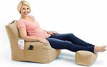 Shopisfy groß Gaming Sitzsack Lounge Gamer Sitzsack Sessel mit passender Schemel in hohem Qualität Wasserfest Material, Erhältlich in 10 Farben - Stein