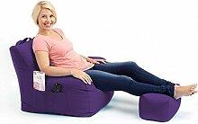 Shopisfy groß Gaming Sitzsack Lounge Gamer Sitzsack Sessel mit passender Schemel in hohem Qualität Wasserfest Material, Erhältlich in 10 Farben - Lila