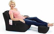 Shopisfy groß Gaming Sitzsack Lounge Gamer Sitzsack Sessel mit passender Schemel in hohem Qualität Wasserfest Material, Erhältlich in 10 Farben - Schwarz