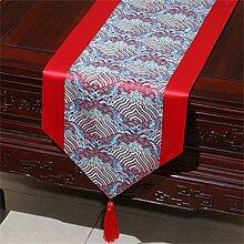 Shopping- Chinesische Seidenhirten-Tischläufer-Tischdecke-Bett-Fahnen-Tuch Art ( farbe : Rot , größe : 33*180cm )