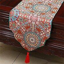 Shopping- Chinesischer Art-Retro- Brokat-einfacher moderner europäischer Tabellen-Läufer Neues klassisches Tischdecke-Tee-Tabellen-Tuch ( farbe : Rot , größe : 33*150cm )