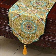 Shopping- Chinesischer klassischer Brokat-einfacher moderner europäischer Tabellen-Läufer-Tischdecke-Tee-Tabellen-Tuch ( farbe : Gelb , größe : 33*300cm )