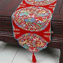 Shopping- Chinesischer klassischer Brokat-einfacher moderner europäischer Tabellen-Läufer-Tischdecke-Tee-Tabellen-Tuch ( farbe : Rot , größe : 33*200cm )