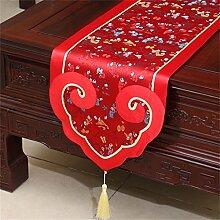 Shopping- Neue chinesische Art-Silk Tabellen-Läufer-Bett-Markierungsfahnen-einfache moderne Tischdecke ( farbe : Rot , größe : 35*200cm )