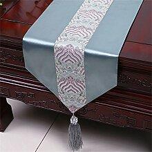 Shopping- Neuer Chinese-einfacher Tabellen-Läufer Moderne amerikanische pastorale Tischdecke-Bett-Flaggen-Tuch-Künste ( farbe : White Gray Blue , größe : 33*300cm )