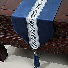 Shopping- Neuer Chinese-einfacher Tabellen-Läufer Moderne europäische amerikanische pastorale Tischdecke-Tee-Tabellen-Stoff-Bett-Flagge ( farbe : Blau , größe : 33*180cm )