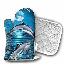 shotngwu Dolphins Moon Küchenofen Handschuhe